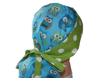 Surgical Scrub Hat - Scrub Cap -  Tie Back - Front Fold Ponytail Scrub Hat - Blue Green Owls Dots 2nd Item Ships FREE