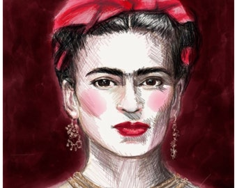Frida Kahlo 8x10 art print in Red,                               Created on my Ipad with the app Paper53