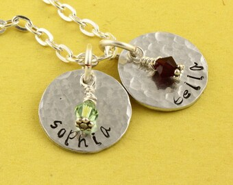 Personalized Birthstone Necklace - Custom Necklace - Birth Stone Necklace - Name Necklace - Silver Necklace -Gift for Mom - Gift For Grandma