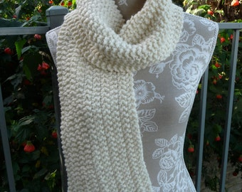 Cream Pure Wool Double Moss Stitch Scarf  -  13105