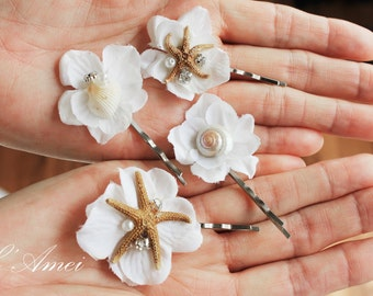 Starfish and Seashell Hair Pin Accessories, Pearl Bobby Pins - Ivory Flower, Bridal Hairpiece