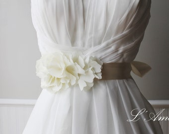 Romantic Handmade Flower Wedding Sash Bridal Belt with Ivory Cream Ribbon