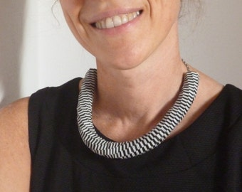 Black and Pearl Grey Woven Paper Necklace