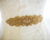 Wedding Crystal Beaded Satin Sash, Gold or Silver, Bridal Belt, Bridal Headpiece, Austrian Crystals, Swarovski, Jewel Sash - Dina