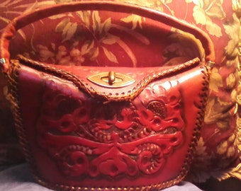 vintage hand tooled purse as is