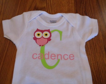 Personalized with Alphabet, Name and Owl