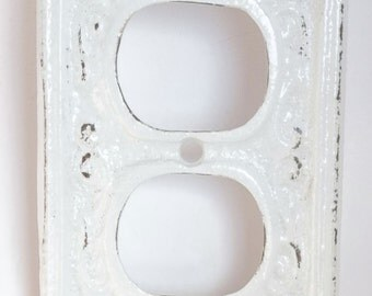 Outlet Cover Cast Iron Snow White Electrical Outlet Shabby Chic Nursery Decor