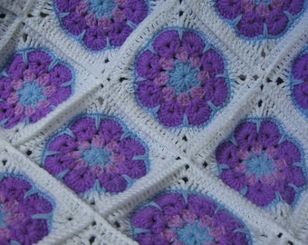 Baby Granny Square African Flower Blanket. Blue and Purple. Ready to Ship. Gift under 40 USD
