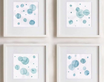 Baby Nursery Art. Turquoise Abstract Bubble paintings. Dots. Set of 4 paintings (size 8x8). Nursery Decor. Square painting. Mint. Blue. .