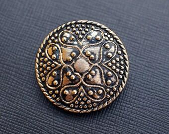 Hand Made Art Czech Glass Button Black - Gold, size 14, 31.5mm 1 pc (BUT202/14)
