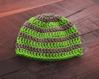 Stripe Green and Grey Hat