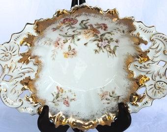 Vintage 1875 C.Tielsch Co. German Porcelain Gold Gilded Articulated Antique Bowl