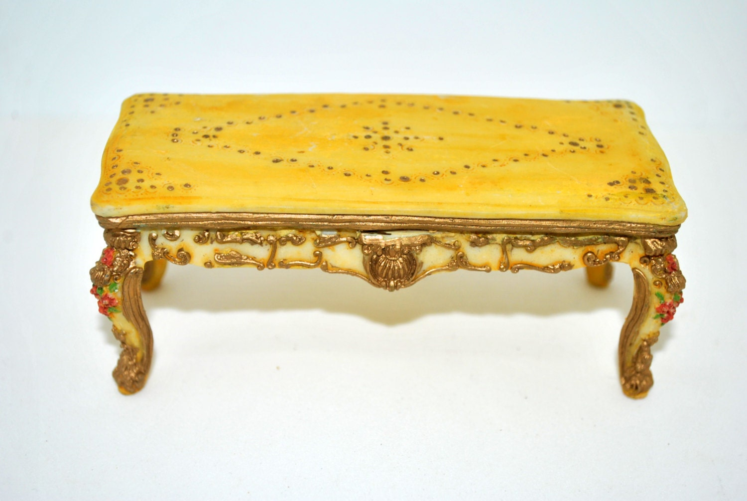 Vintage rococo doll house furniture dining room table baroque for Plastic baroque furniture