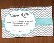 Baby Shower Diaper Raffle Ticket Diaper Wipe Raffle Card Diapers Raffles Boy Baby Shower Games Printable Digital Files printable decor DIY