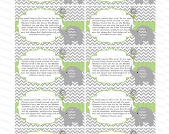 Baby shower invitation bring a book instead of a card elephant baby shower invitation insert boy baby shower (80b1t) download