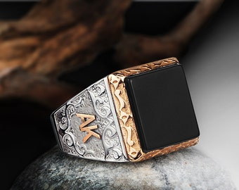 Personalized Silver Ring With Individual 10k GOLD Initials Mens Gemstone Handmade Vintage Ottoman Style :FREE Shipping via FedEx 59519