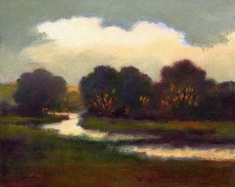 Country scene paper print, landscape, river, dark reds, green, gray, woodlands art, field and stream, creek, water, impressionism