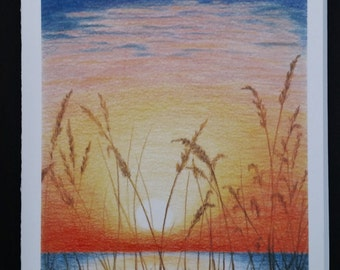 Sunset , Set of 4 Blank Notecards
