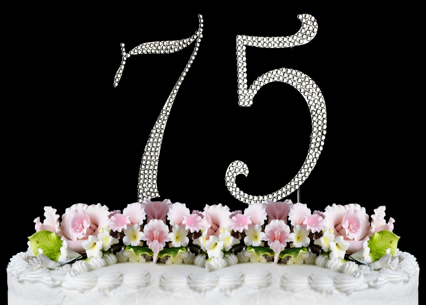 New large rhinestone number 75 cake topper 75th birthday for 75th birthday decoration