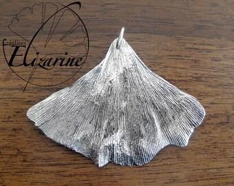 Ginkgo Female Leaf Pendant 925 Silver - Pendentif Feuille de Ginkgo Femelle en Argent 925