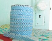 Baby Blue Polka Dot Double Fold Crochet Edge Bias Tape (No. 16)