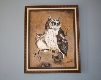 Owl Oil Painting Wall Hanging