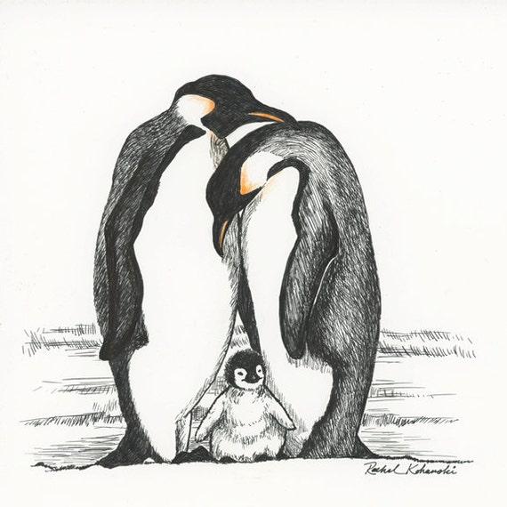 Penguin Family Drawing of Penguin Family Print