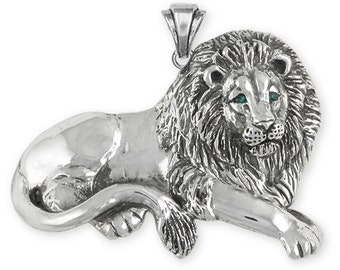 Solid Large Sterling Silver Lion Pendant - LION7-P