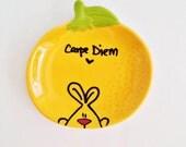 Carpe Diem mini orange bunny plate