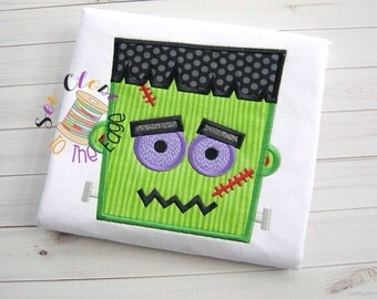 Custom Boys Halloween Frankenstein T-Shirt - Personalized - Applique Shirt - Toddler - Youth - Spooky Embroidered Shirt