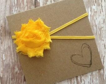 Petite Yellow Shabby Flower Headband, Yellow, Baby Headband, Yellow Flower, Newborn
