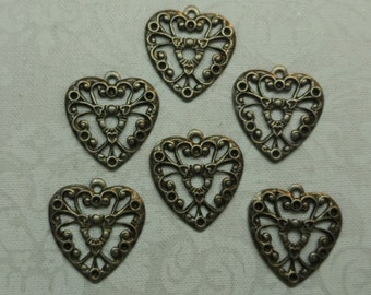 """Vintage silver plate stamped brass filigree hearts,5/8th"""" with ring,6pcs-CHM66"""