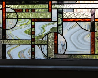 Stained Glass Abstract Art, Window Panel, Contemporary Stained Glass Panel, Handmade, Home Decor
