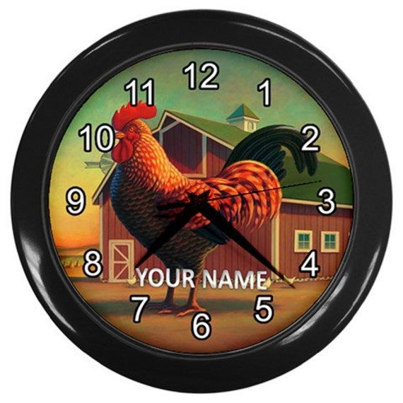 Personalized Rooster Kitchen Wall Clock Black Custom Clock