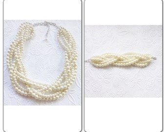 Wedding Jewelry Bridal Set, Pearl Statement Necklace, Chunky Pearl Necklace, Braided Pearl Necklace, Chunky Pearl Necklace