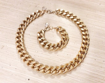 Chunky Chain Necklace & Bracelet Set 18K Gold Plated Thick Statement Celebrity Designer Inspired