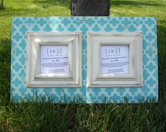 Double opening frame, 4x4 frames, distressed frame, turquoise or mint frames.