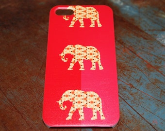 Red Tribal Print 3 Elephant Indian African Print Case For iPhone 6 / (4.7) / 4.7 / 5c / 5s / 5 / 4s / 4 Hard Rigid Cover Printed In USA c07