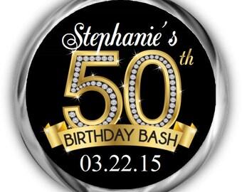 50th Birthday Hershey Kisses Stickers - Personalized Diamond Birthday Kiss Favors - 50th Birthday Stickers