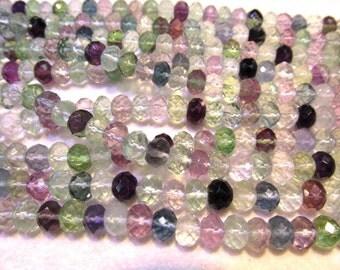 wholesale 4x6mm full strand genuine  rainbow flourite gemstone rondelle round faceted  ball jewelry beads DIY