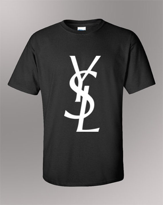 Ysl inspired logo t shirt yves saint laurent shirt by for Ysl logo tee shirt