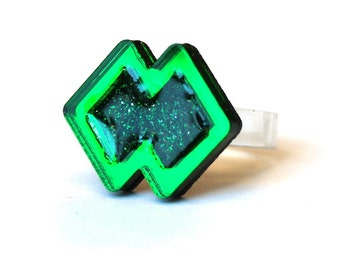 Green Glitter Resin Geometric Sterling Silver Ring