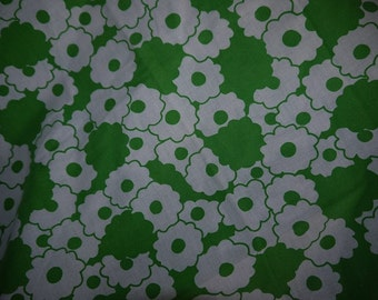 Fabric / Curtains - RETRO - Sweden - Green and White - Crafts - 70s