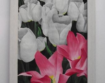 ORIGINAL flower art, acrylic painting, Tulip flowers, pink, lillium