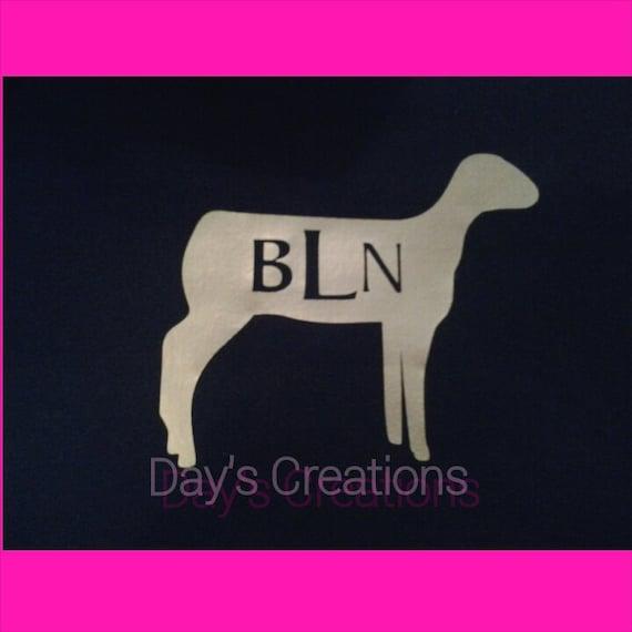 Monogrammed t-shirt - Custom lamb monogrammed shirt - Personalized show lamb t-shirt
