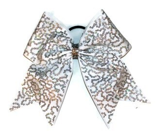 CHEER BOW-White with silver sequins