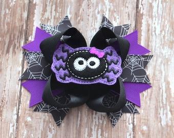 Spider Hair Bow, Halloween Hair Bow, Halloween Bow, Halloween Headband, Purple Halloween Bow, Spider Bow, Halloween Clip, Halloween, Spider