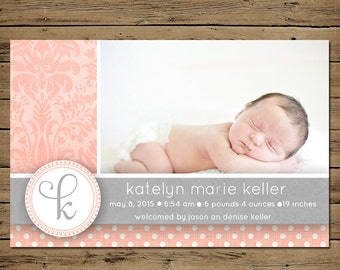 Printable Birth Announcement -  Baby Girl Birth Announcement - Personalized - Vintage Damask Pink