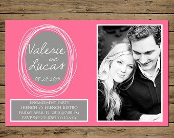 Save the Date Engagement Card - Custom Photo Wedding Announcement - Printable - Hand Drawn Circle