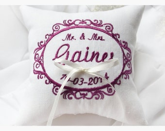 White wedding pillow , wedding ring pillow, embroidery pillow, Personalized Custom embroidered ring bearer pillow (R46)